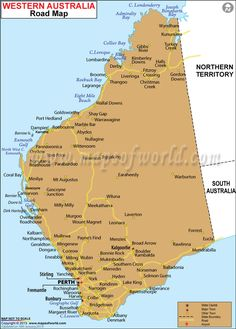 Road Map of Western Australia. There is a saying 'as big a Texas' but Texas is tiny compared to my home state of Western Australia which is times bigger🇦🇺🙂 Perth Australia, Visit Australia, Western Australia, Australia Travel, Australian Road Trip, Australia Holidays, Travel Tours, Travel Oz, Travel Guide