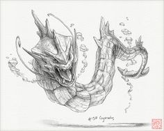Gyarados  8 x 10 print pokemon drawing art by RockyHammerEtsy