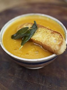 Superb squash soup with the best Parmesan croutons #superb
