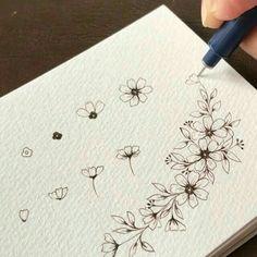 Flower Art Drawing, Flower Drawing Tutorials, Botanical Line Drawing, Floral Drawing, Botanical Drawings, Art Tutorials, Bullet Journal Art, Bullet Journal Ideas Pages, Bullet Journal Inspiration