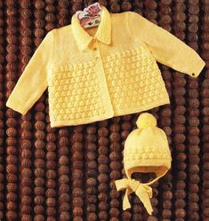 baby matinee coat and hat set vintage knitting by Ellisadine