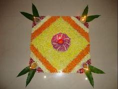 Simple Square shape Flower Rangoli Design for Diwali Simple Rangoli Designs Images, Rangoli Designs Flower, Rangoli Designs Diwali, Diwali Rangoli, Beautiful Rangoli Designs, Flower Designs, Indian Rangoli, Easy Rangoli, Diwali Craft