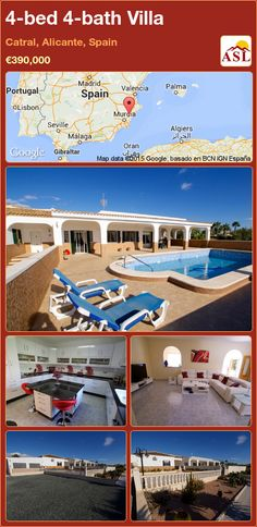 Villa for Sale in Catral, Alicante, Spain with 4 bedrooms, 4 bathrooms - A Spanish Life Beautiful Beaches, Beautiful Gardens, Valencia, Portugal, Electric Radiators, Electric Gates, Alicante Spain, Double Glazed Window, Water Systems