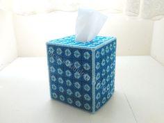 Blue Beaded Plastic Canvas Tissue Box Cover Kleenex Cover