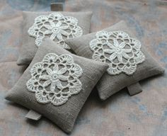 Lavender sachets crochet motif set of 3 by namolio on Etsy. **.Crochet motif for pincushions or even pillows!