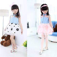 4pcs/lot is only $ 25.03 12M-4T Baby Girls Kids Princess Floral One-pieces Denim flower Jeans wedding Dress Tulle Clothes
