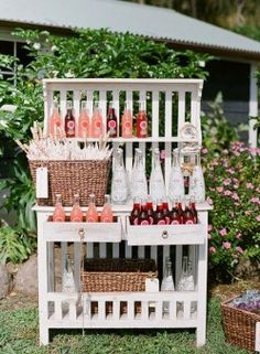 I could make a drink display like this. Very cute, space saving and holds a lot. I like.