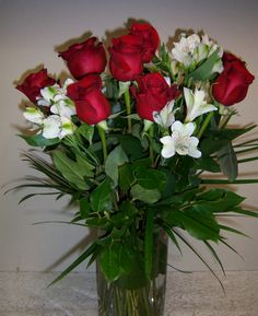 Traditional Red Roses and White Alstroemeria in tall square vase  $75.00 www.dutchmillflowershop.com Red Roses, Valentines Day, Vase, Traditional, Plants, Valentines Diy, Valentine's Day, Valentines, Flower Vases
