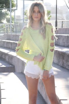 cut out neon knit - I have a few long sleave t's I could spruce up.