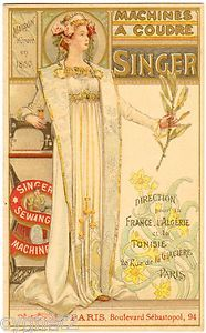 Trade Card French Singer Sewing Machines Art Nouveau Foldover