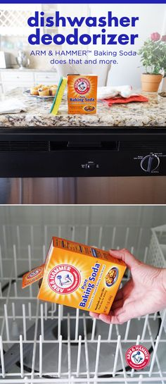 Funky food odours in your dishwasher? Here's a clever and effective cleaning tip. Just sprinkle a handful of ARM & HAMMER™ Baking Soda into the bottom of your dishwasher to eliminate lingering odours. Or double your deodorizing power by throwing some into your machine before running.