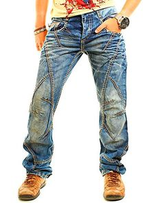 Clothing Store Interior, Cyberpunk Clothes, Jeans Straight, Cargo Pants Men, Patched Jeans, Biker Style, Denim Fabric, Mens Clothing Styles, Patches
