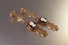 Victorian Cameo Drop Earrings Etruscan Revival by LynnHislopJewels