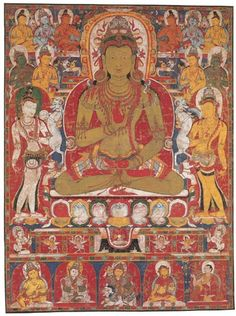 Amoghasiddhi, Dhyani Buddha of the North, associated with the destruction of envy. Tibet, c. Buddha Buddhism, Tibetan Buddhism, Buddhist Temple, Buddhist Art, Religious Images, Religious Art, Vajrayana Buddhism, Thangka Painting, Wheel Of Life