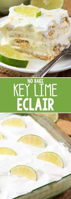 No Bake Key Lime Eclair - this easy no bake recipe is like key lime pie in the form of an easy eclair! It really does taste like an eclair recipe but without all the work and all the key lime flavor. (easy summer desserts no bake) Key Lime Desserts, Köstliche Desserts, Delicious Desserts, French Desserts, Key Lime Dessert Recipes Easy, Plated Desserts, No Bake Summer Desserts, Pudding Desserts, Lemon Desserts