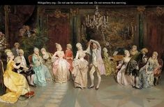 At The Ball - Ettore Simonetti (Italian, Classic Paintings, Old Paintings, Beautiful Paintings, Vintage Pictures, Vintage Images, Vintage Art, Victorian Paintings, Victorian Art, Art Ancien