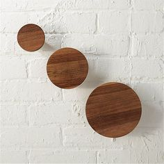 Free Shipping.  Shop set of 3 dot coat hooks.   Reclaimed from old homes under renovation in northern India, sen wood comes full circle in eco installation.