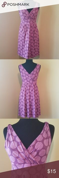 Empire Waist Circle Print Sleeveless Dress, Medium New without tags!  Stretchy, empire waist, lavender, sleeveless dress with lighter lavender circle pattern and v-neckline in both front and back of the dress.  Size Medium by Merona. Merona Dresses Midi