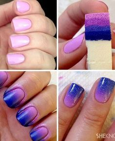 Ombre Nail Designs, Nail Polish Designs, Simple Nail Designs, Nail Art Designs, Nails Design, Salon Design, Diy Nail Designs Step By Step, Easy Designs, Do It Yourself Nails