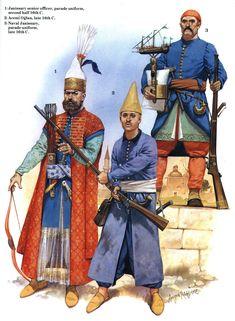 Janissaries of the Ottoman Empire Les Balkans, Empire Ottoman, Ottoman Turks, Military Costumes, Armadura Medieval, Knight Art, Historical Art, Illustrations, Military History