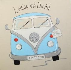 campervan wedding canvas - in 3 sizes, with any personalised details added: couple's name above van, wedding date on numberplate & just married sign hanging from wing mirror.