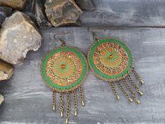 Leather earrings. Bohemian earrings. Gypsy by VelmaJewelry on Etsy