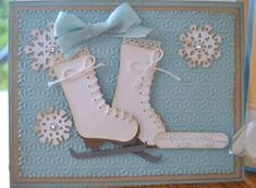 ♥ this Ice Skating card using the Stampin' Up! Stocking punch Gorgeous card by Alison Solven