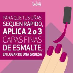 Sigue este consejo y disfruta de tu manicura por mucho mas tiempo Tips Belleza, Lipstick, Nails, Beauty, Ideas, Beauty Tips, Fur, Women, Finger Nails