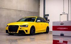 Audi RS4Avant, チューニング, sportcars, ガレージ, 黄色のaudi