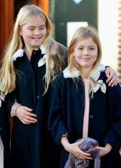 Dutch Royal Christening of Willem Jan van Vollenhoven at Palace het Loo in Apeldoorn, The Netherlands, 9 November 2014.....Dutch Princess Amalia(L) and Princess Alexia attend the christening of Prince Floris' son at Palace het Loo in Apeldoorn, The Netherlands.