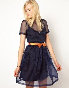 Antipodium Accelorator Dress in Midnight Organza blue dress orange belt
