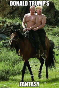 Donald Trump Horseback Riding with Putin: It's about time our two countries got along. Who could think of a better way to bond than sharing a horse ride togethe Putin On Horseback, Horseback Riding, Trump Karikatur, Putin Shirtless, Rambo, Caption Contest, Donald Trump, Presidents, Funny Pictures