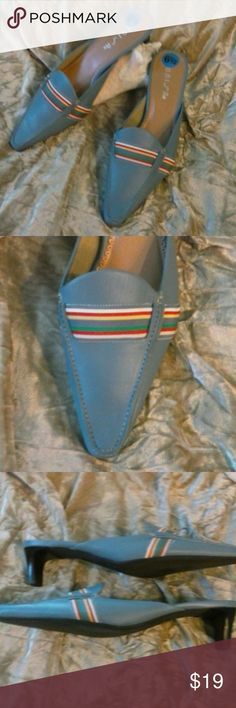 NWOT UNISA Genuine Leather Upper Mule! 6.5 New without tags mules. Never worn no signs of wear or defects.  Color grayish blue with striped  fabric band. Bundle and save Unisa Shoes Mules & Clogs