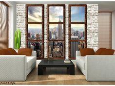 View over New York fotobehang City Kleurmijninterieur Interior And Exterior, Interior Design, New York, Windows, Curtains, Wallpaper, City, Furniture, Home Decor