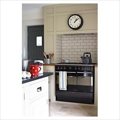 Like the color for my kitchen cabs - you guessed it.oven in a chimney breast! Rustic Kitchen, Country Kitchen, New Kitchen, Kitchen Stove Design, Kitchen Interior, Kitchen Doors, Kitchen Tiles, Cooker In Chimney Breast, Kitchen Chimney