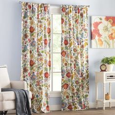 Youll Love The Heartwood Floral Sheer Rod Pocket Curtain Panels At Wayfair