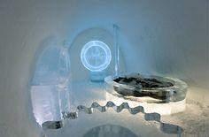 A hotel made completely of ice in the Swedish village of Jukkasjärvi=honeymoon