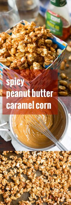 This addictive caramel corn is drenched in a peanut butter coating that& rich and nutty, perfectly sweet, and just a tad spicy! Vegan Dessert Recipes, Vegan Sweets, Delicious Vegan Recipes, Vegan Snacks, Healthy Snacks, Snack Recipes, Cooking Recipes, Yummy Food, Popcorn Recipes