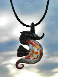 Murano Glass SEA HORSE on Braided Black Leather Cord Necklace Beach Jewelry