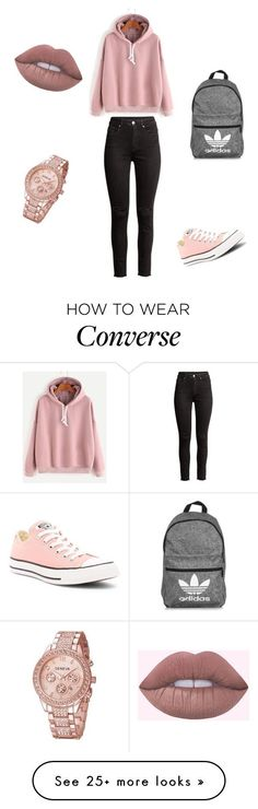 #school #outfit by ivaila02 on Polyvore featuring Converse and adidas