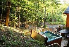 We love back yard photos! This Timber Block home owner knows how to enjoy life. Gorgeous spot and the hot tub is the perfect touch! More photos at www.timberblock.com