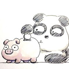 【一日一大熊猫】1016.10.31 イギリスでは台所の壺に余ったお金を貯める事をピギー銀行といって、豚を連想させたから、貯金箱は豚が多いのだとか。 #パンダ #豚の貯金箱