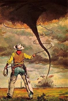 Pecos Bill - born in 1830's in Texas.  As an infant, he fell out of a covered wagon unnoticed by his family near the Pecos River, earning the nickname, and raised by coyotes until found by his real brother who convinced him he was a man. He became a cowboy using Shake, the rattlesnake as a lasso, riding Widow-Maker, eating dynamite, and once lassoed a tornado. Bill proposed to Slue-Foot Sue by shooting all the stars from the sky but one which becomes the Lone Star.   ; )