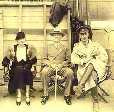 "William Powell with parents on the set of (""The Key"") in 1934"