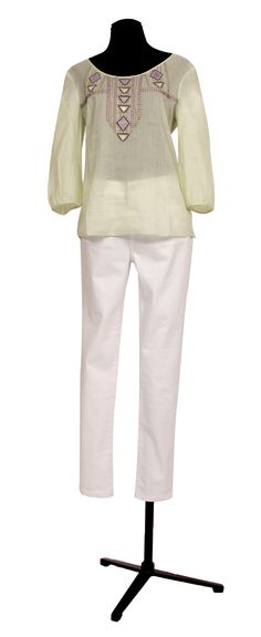 1.2.3 Paris - Top Louisette 85€ Pantalon Domitille 89€ #coton #broderies #vertdeau #vert #lilas #blanc #enduit #huile #mode #printemps #ete #123