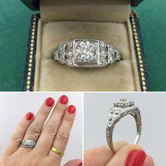 Deco Perfection! Circa 1930 Platinum Diamond Engagement Ring