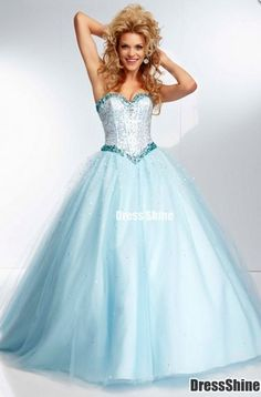 long prom dress, 2015 light aqua blue tulle sweetheart neck sparkly ball gown prom dress for teens,Quinceanera, grad dress, ball gown with sequins #promdress #Quinceanera