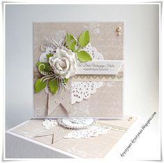 card with flower and leaves and doily - Krystynas i jej papierowy świat: Ślubne życzenia