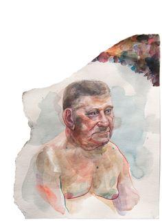 """Man in the figural corner"" 50 x 70 cm / Watercolor illustration by AVIS / Monika Volakova."