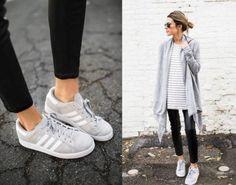 gray cardigan with adidas